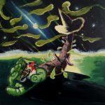 """tropic encounter"" 40x40cm oil on canvas 2020 price : 200"