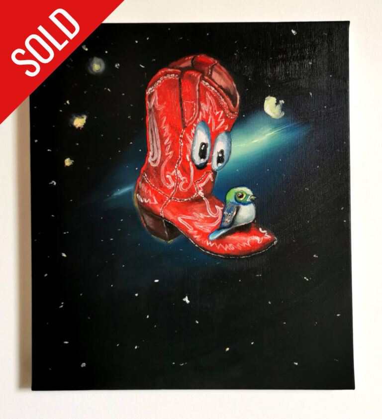 """""""space boot"""" 35x40cm oil on canvas 2020 price : 195€"""